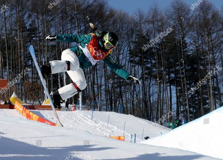 Emily Arthur, of Australia, jumps during the women's halfpipe finals at Phoenix Snow Park at the 2018 Winter Olympics in Pyeongchang, South Korea