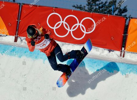 Mirabelle Thovex, of France, runs the course during the women's halfpipe finals at Phoenix Snow Park at the 2018 Winter Olympics in Pyeongchang, South Korea