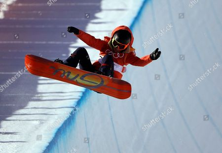 Mirabelle Thovex, of France, jumps during the women's halfpipe finals at Phoenix Snow Park at the 2018 Winter Olympics in Pyeongchang, South Korea