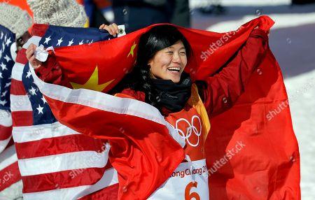 Liu Jiayu, of China, celebrates winning silver after the women's halfpipe finals at Phoenix Snow Park at the 2018 Winter Olympics in Pyeongchang, South Korea