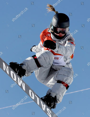 Maddie Mastro, of the United States, jumps during the women's halfpipe finals at Phoenix Snow Park at the 2018 Winter Olympics in Pyeongchang, South Korea
