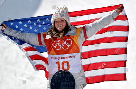 Arielle Gold, of the United States, celebrates winning bronze in the women's halfpipe finals at Phoenix Snow Park at the 2018 Winter Olympics in Pyeongchang, South Korea