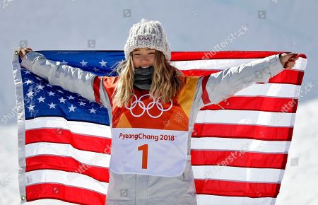 Chloe Kim, of the United States, celebrates winning gold in the women's halfpipe finals at Phoenix Snow Park at the 2018 Winter Olympics in Pyeongchang, South Korea
