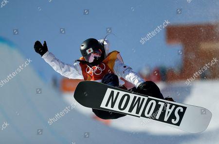Haruna Matsumoto, of Japan, jumps during the women's halfpipe finals at Phoenix Snow Park at the 2018 Winter Olympics in Pyeongchang, South Korea