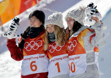 From left; Silver medal winner Liu Jiayu, of China, gold medal winner Chloe Kim, of the United States, and bronze medal winner Arielle Gold, of the United States, celebrate after the women's halfpipe finals at Phoenix Snow Park at the 2018 Winter Olympics in Pyeongchang, South Korea