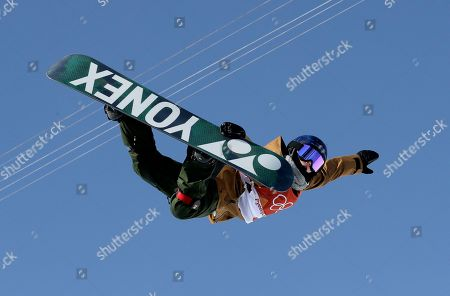 Queralt Castellet, of Spain, jumps during the women's halfpipe finals at Phoenix Snow Park at the 2018 Winter Olympics in Pyeongchang, South Korea