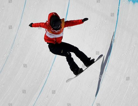 Cai Xuetong, of China, runs the course during the women's halfpipe finals at Phoenix Snow Park at the 2018 Winter Olympics in Pyeongchang, South Korea
