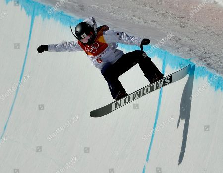Haruna Matsumoto, of Japan, runs the course during the women's halfpipe finals at Phoenix Snow Park at the 2018 Winter Olympics in Pyeongchang, South Korea