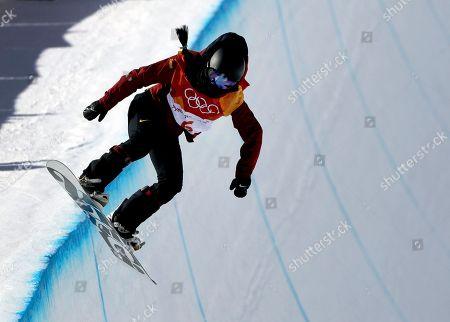 Liu Jiayu, of China, runs the course during the women's halfpipe finals at Phoenix Snow Park at the 2018 Winter Olympics in Pyeongchang, South Korea
