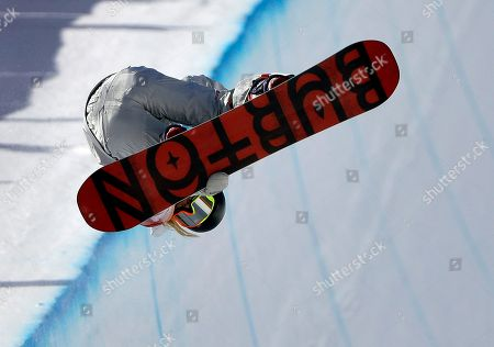 Chloe Kim, of the United States, jumps during the women's halfpipe finals at Phoenix Snow Park at the 2018 Winter Olympics in Pyeongchang, South Korea