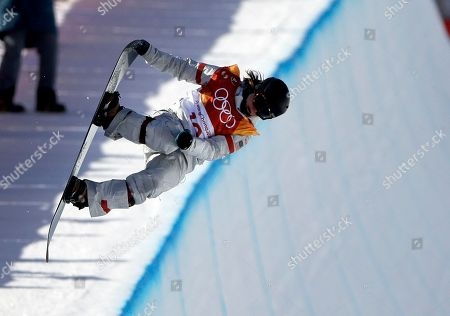 Arielle Gold, of the United States, jumps during the women's halfpipe finals at Phoenix Snow Park at the 2018 Winter Olympics in Pyeongchang, South Korea