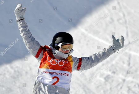 Kelly Clark, of the United States, reacts after finishing during the women's halfpipe finals at Phoenix Snow Park at the 2018 Winter Olympics in Pyeongchang, South Korea