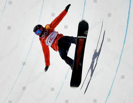 Sophie Rodriguez, of France, crashes during the women's halfpipe finals at Phoenix Snow Park at the 2018 Winter Olympics in Pyeongchang, South Korea