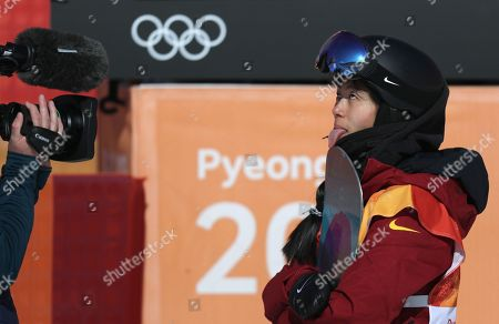 Liu Jiayu of China reacts after competing in the Women's Snowboard Halfpipe final competition at the Bokwang Phoenix Park during the PyeongChang 2018 Olympic Games, South Korea, 13 February 2018.