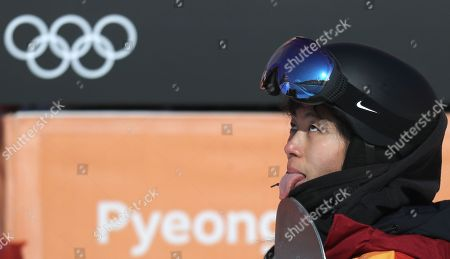 Liu Jiayu of China reacts during competition in the Women's Snowboard Halfpipe final competition at the Bokwang Phoenix Park during the PyeongChang 2018 Olympic Games, South Korea, 13 February 2018.
