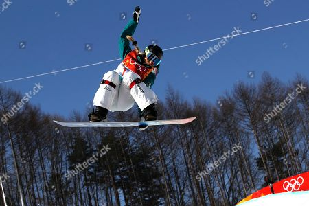 Emily Arthur of Austalia in action during the Women's Snowboard Halfpipe final at the Bokwang Phoenix Park during the PyeongChang 2018 Olympic Games, South Korea, 13 February 2018.