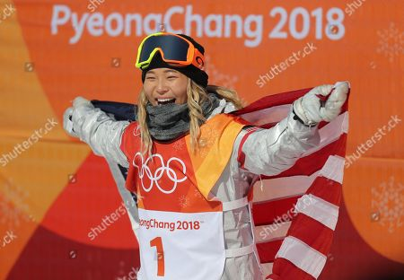 Chloe Kim of the US reacts to her gold medal win in the Women's Snowboard Halfpipe final at the Bokwang Phoenix Park during the PyeongChang 2018 Olympic Games, South Korea, 13 February 2018.