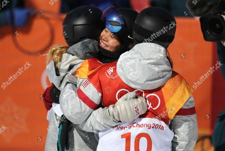 Chloe Kim of the US (L) is hugged by Liu Jiayu of China (C) who came second for silver, and Arielle Gold of the USA (R) who came third for bronze in the Women's Snowboard Halfpipe final at the Bokwang Phoenix Park during the PyeongChang 2018 Olympic Games, South Korea, 13 February 2018.