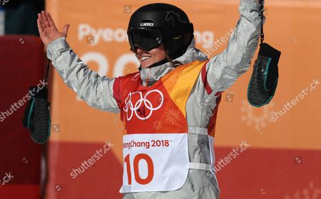 Arielle Gold of the USA jubilates her third place bronze win in the Women's Snowboard Halfpipe final at the Bokwang Phoenix Park during the PyeongChang 2018 Olympic Games, South Korea, 13 February 2018.