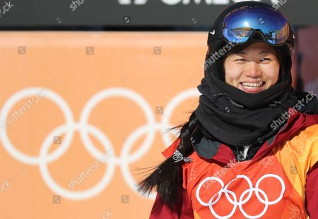 Liu Jiayu of China celebrates her second place silver medal win in the Women's Snowboard Halfpipe final competition at the Bokwang Phoenix Park during the PyeongChang 2018 Olympic Games, South Korea, 13 February 2018.  E