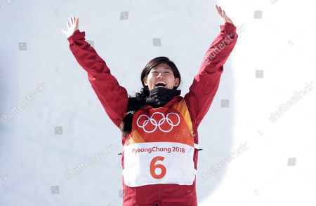 Liu Jiayu of China who came second for silver at the venue ceremony for the winners of the Women's Snowboard Halfpipe final at the Bokwang Phoenix Park during the PyeongChang 2018 Olympic Games, South Korea, 13 February 2018.