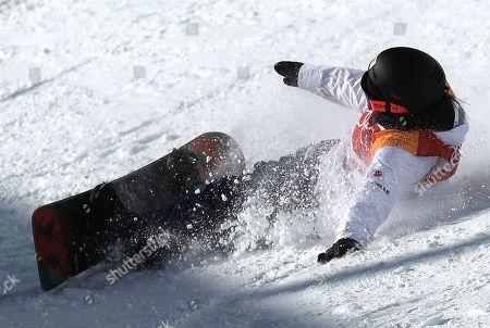 Sena Tomita of Japan falls during the Women's Snowboard Halfpipe final at the Bokwang Phoenix Park during the PyeongChang 2018 Olympic Games, South Korea, 13 February 2018.