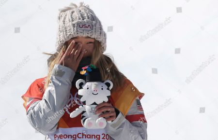 Gold medalist in first place, Chloe Kim of the US reacts at the venue ceremony for the winners of the Women's Snowboard Halfpipe final at the Bokwang Phoenix Park during the PyeongChang 2018 Olympic Games, South Korea, 13 February 2018.
