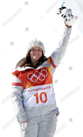 Arielle Gold of the USA who came third for bronze on the podium at the venue ceremony for the winners of the Women's Snowboard Halfpipe final at the Bokwang Phoenix Park during the PyeongChang 2018 Olympic Games, South Korea, 13 February 2018.