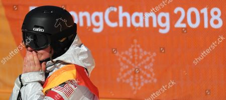 Arielle Gold of the USA (R) who came third for bronze in the Women's Snowboard Halfpipe final at the Bokwang Phoenix Park during the PyeongChang 2018 Olympic Games, South Korea, 13 February 2018.