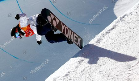 Sena Tomita of Japan in action during the Women's Snowboard Halfpipe final at the Bokwang Phoenix Park during the PyeongChang 2018 Olympic Games, South Korea, 13 February 2018.