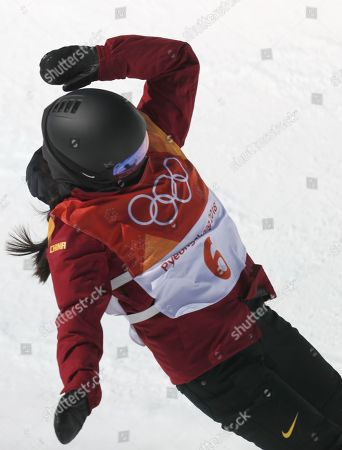 Liu Jiayu of China who came second for silver competes in the Women's Snowboard Halfpipe final at the Bokwang Phoenix Park during the PyeongChang 2018 Olympic Games, South Korea, 13 February 2018.