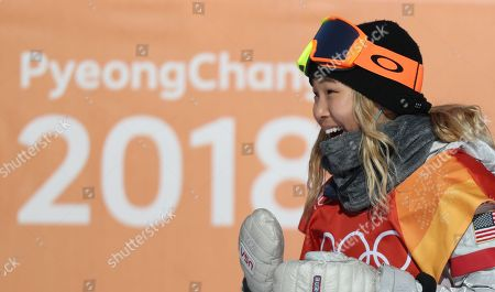 Chloe Kim of the US reacts during the Women's Snowboard Halfpipe final at the Bokwang Phoenix Park during the PyeongChang 2018 Olympic Games, South Korea, 13 February 2018.