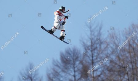 Maddie Mastro of the USA in action during the Women's Snowboard Halfpipe final at the Bokwang Phoenix Park during the PyeongChang 2018 Olympic Games, South Korea, 13 February 2018.