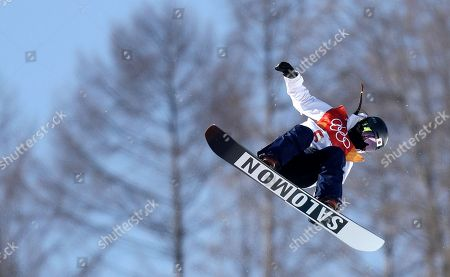 Haruna Matsumoto of Japan in action during the Women's Snowboard Halfpipe final at the Bokwang Phoenix Park during the PyeongChang 2018 Olympic Games, South Korea, 13 February 2018.