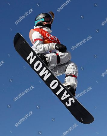 Maddie Mastro of the USA in action during the Women's Snowboard Halfpipe final competition at the Bokwang Phoenix Park during the PyeongChang 2018 Olympic Games, South Korea, 13 February 2018.