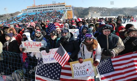 American fans cheer for their US boarders during the Women's Snowboard Halfpipe final competition at the Bokwang Phoenix Park during the PyeongChang 2018 Olympic Games, South Korea, 13 February 2018.