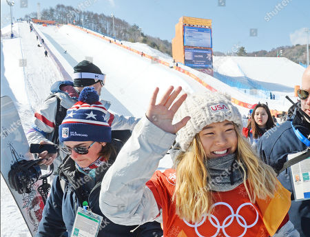Stock Picture of Gold medalist Chloe Kim of the US celebrates after the Women's Snowboard Halfpipe final at the Bokwang Phoenix Park during the PyeongChang 2018 Olympic Games, South Korea, 13 February 2018.