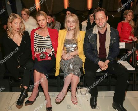 Princess Maria-Olympia of Greece and Denmark, Nicky Hilton Rothschild, Dakota Fanning, Derek Blasberg. Princess Maria-Olympia of Greece and Denmark, from left, businesswoman Nicky Hilton Rothschild, actress Dakota Fanning and writer Derek Blasberg attend the Oscar De La Renta 2018 Fall/Winter Runway Show during New York Fashion Week at the Cunard Building on in New York