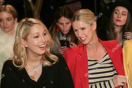 Stock Image of Princess Maria-Olympia of Greece and Denmark, Nicky Hilton Rothschild. Princess Maria-Olympia of Greece and Denmark, left, and businesswoman Nicky Hilton Rothschild attend the Oscar De La Renta 2018 Fall/Winter Runway Show during New York Fashion Week at the Cunard Building on in New York
