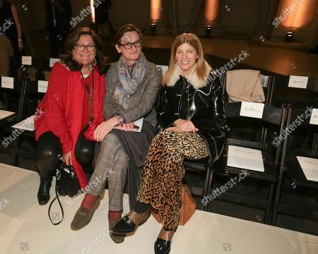 Fern Mallis, Hamish Bowles, Virginia Smith. Fern Mallis, from left, Hamish Bowles and Virginia Smith attend the Oscar de la Renta 2018 Fall/Winter Runway Show during New York Fashion Week at the Cunard Building on in New York