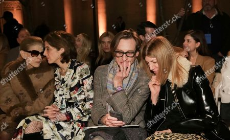 Hamish Bowles, Virginia Smith. Hamish Bowles, 2nd from right, and Virginia Smith, right, attend the Oscar de la Renta 2018 Fall/Winter Runway Show during New York Fashion Week at the Cunard Building on in New York