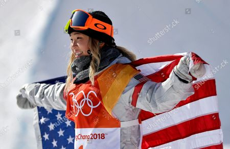 Chloe Kim, of the United States, celebrates winning gold after the women's halfpipe finals at Phoenix Snow Park at the 2018 Winter Olympics in Pyeongchang, South Korea