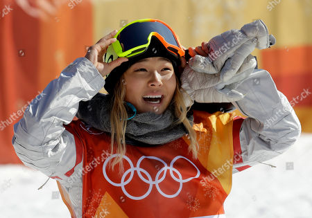 Chloe Kim, of the United States, smiles during the women's halfpipe finals at Phoenix Snow Park at the 2018 Winter Olympics in Pyeongchang, South Korea