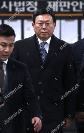 Shin Dong-bin, chairman of Lotte Group, arrives for sentencing in a corruption case linked to impeached former President Park Geun-hye, at a court in Seoul South Korea, 13 February 2018. Shin was sentenced to 2 1/2 years of imprisonment for giving bribes to Park's close personal friend in exchange for business favors. The court ordered the tycoon to forfeit the 7 billion won (US$698 million), the amount he gave in bribes.