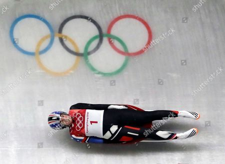 Erin Hamlin of the United States competes in her third run during the women's luge final at the 2018 Winter Olympics in Pyeongchang, South Korea