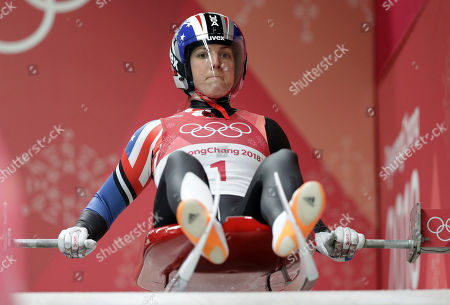 Erin Hamlin of the United States prepares to start her third run during the women's luge final at the 2018 Winter Olympics in Pyeongchang, South Korea