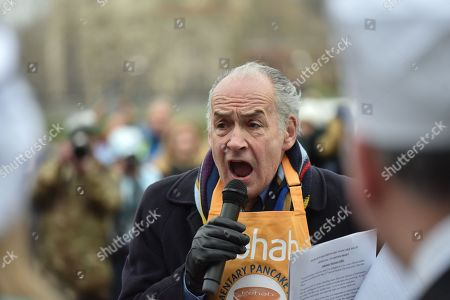 Alastair Stewart. The annual Rehab Parliamentary Pancake Race takes place in Victoria Tower Gardens next to Parliament, with members of the press and Parliamentarians racing for the Rehab charity.