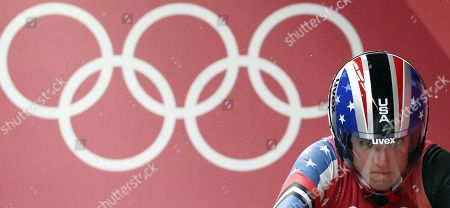 Stock Image of Erin Hamlin of the USA competes in the Women's Luge Singles competition at the Olympic Sliding Centre during the PyeongChang 2018 Olympic Games, South Korea, 13 February 2018.