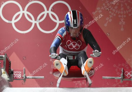 Erin Hamlin of the USA competes in the Women's Luge Singles competition at the Olympic Sliding Centre during the PyeongChang 2018 Olympic Games, South Korea, 13 February 2018.