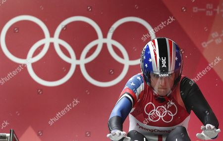 Stock Photo of Erin Hamlin of the USA competes in the Women's Luge Singles competition at the Olympic Sliding Centre during the PyeongChang 2018 Olympic Games, South Korea, 13 February 2018.
